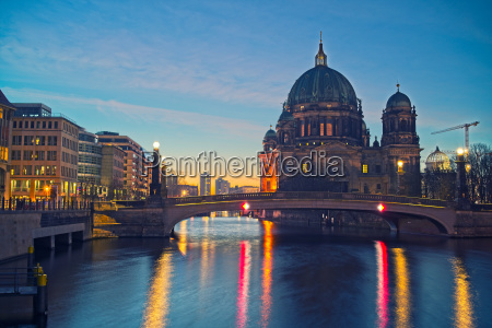 berlin cathedral on spree river at