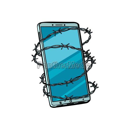 stacheldraht und telefon isolieren auf weissem
