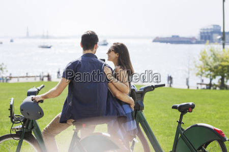 rear view of affectionate couple with