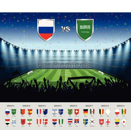 soccer match russia 2018 with excited