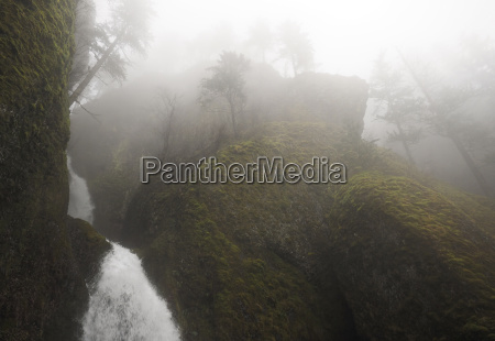 scenic view of waterfall amidst mountain