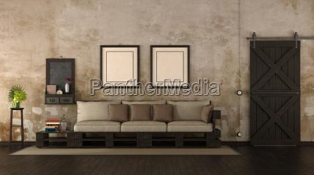 retro wohnzimmer mit palettensofa
