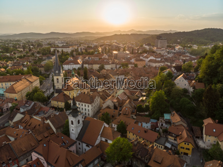 aerial view of old medieval city