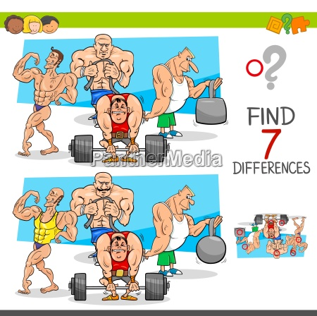 find differences game with athletes sportsmen