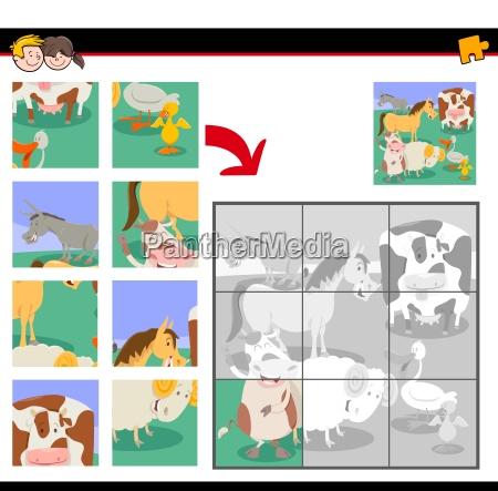 puzzles mit niedlichen nutztieren