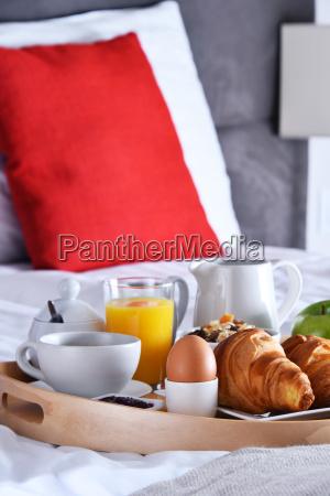 breakfast on tray in bed in