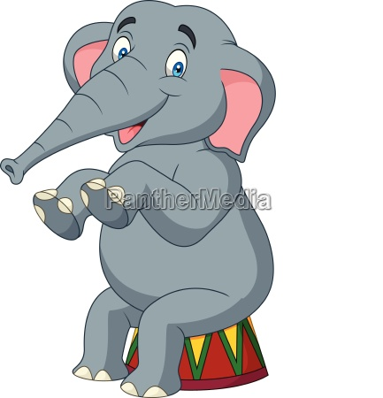 cartoon cute elephant sitting