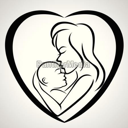 mutter und baby ikone