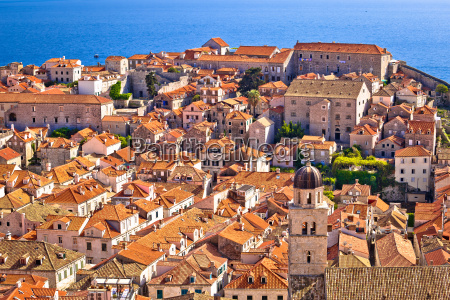 dubrovnik old center rooftops view from