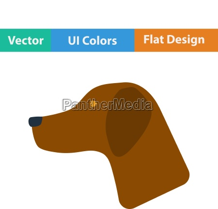 flat design icon of hinting dog