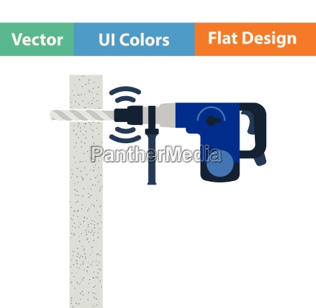 flat design icon of perforator drilling
