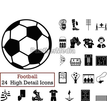 set of 24 football icons
