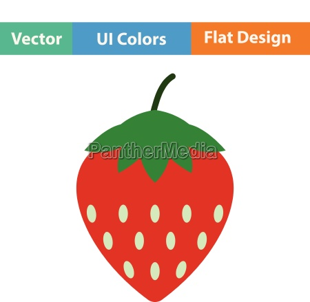 flat design icon of strawberry