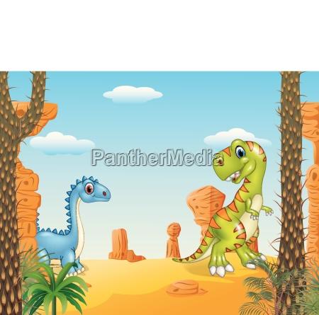 cartoon lustige dinosaurier sammlung mit praehistorischen