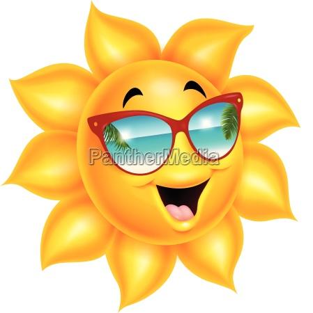 cartoon sonnencharakter mit sonnenbrille