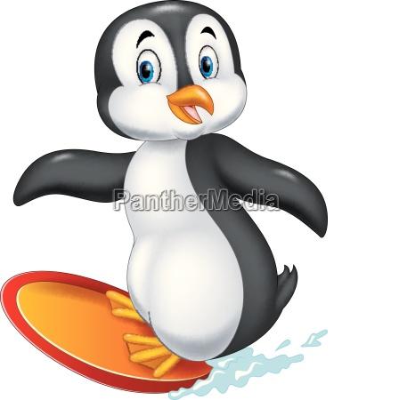 pinguin komisch lustig spassig surfing cartoon