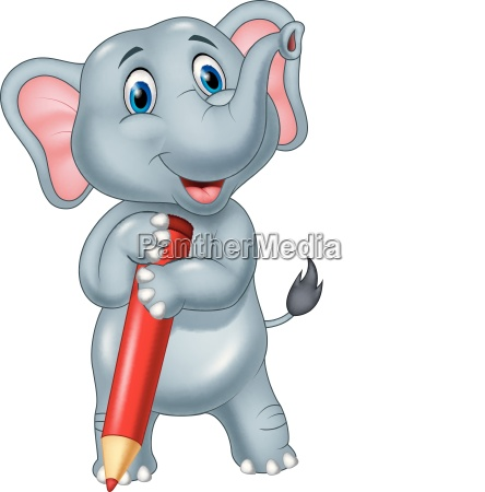 cute elephant cartoon holding red pencil
