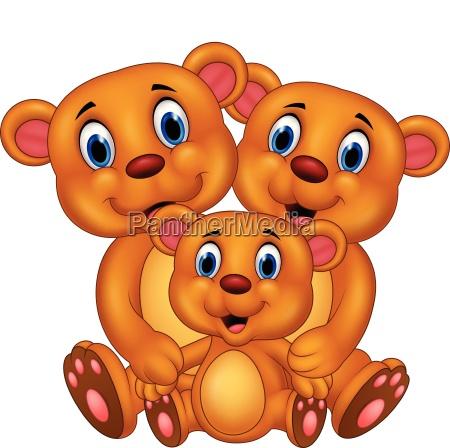 cartoon happy bear family