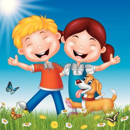cartoon happy kids on summer background