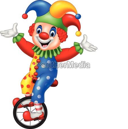 cartoon clown faehrt mit einem rad