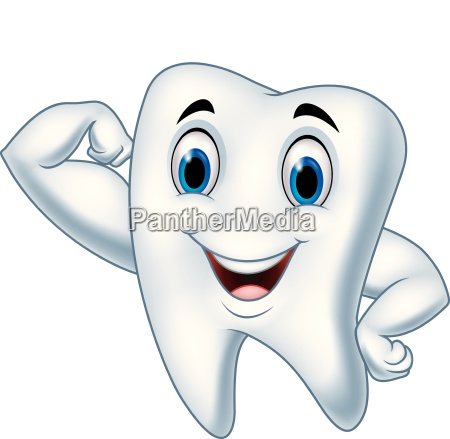 cartoon strong tooth character