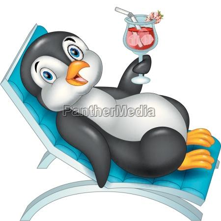 cartoon pinguin sitzt auf dem strandstuhl