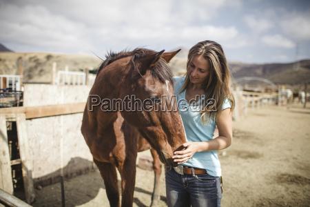 young woman stroking horse at barn