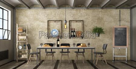 dining room in a loft