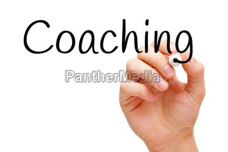 coaching handgeschrieben mit schwarzem filzstift