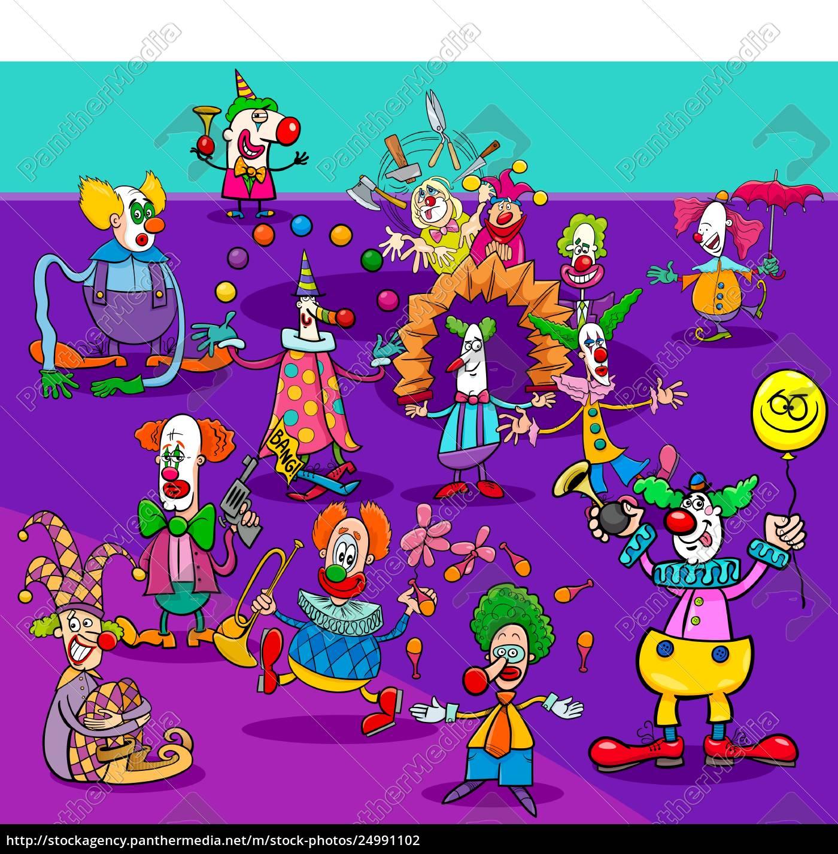 Lizenzfreie Vektorgrafik 24991102 Lustige Zirkus Clowns Cartoon Charaktere Gruppe
