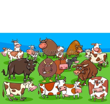 cows and bulls farm animal characters