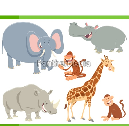 wild animals cartoon characters set