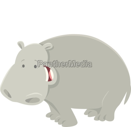 funny cartoon hippopotamus animal character