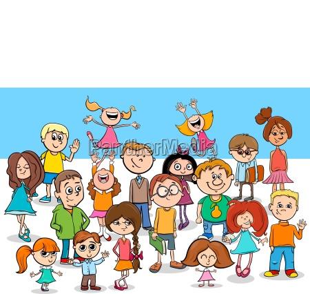 kind jungen und maedchen zeichentrickfiguren gruppe