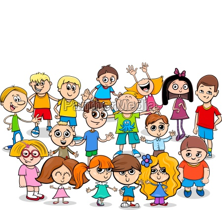 happy children cartoon characters group