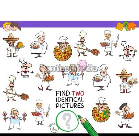 finde zwei identische kochfiguren fuer kinder