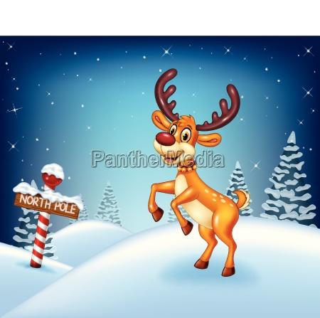 karikatur weihnachtshintergrund mit gluecklichem hirsch