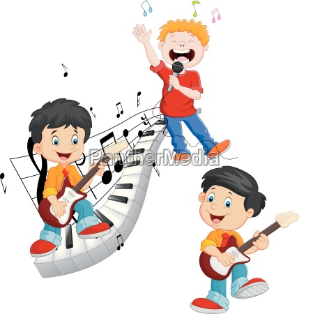 cartoon happy kids singing and playing