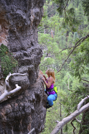 high angle view of woman rock
