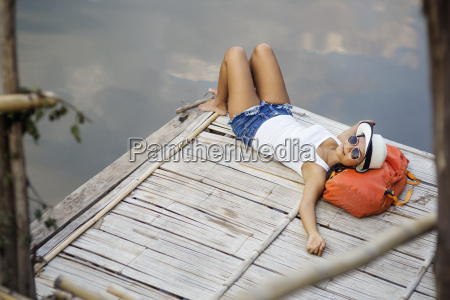 high angle view of female backpacker