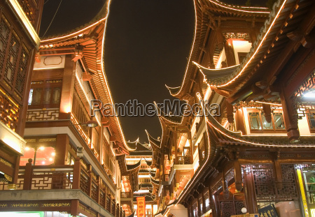 low angle view of illuminated traditional
