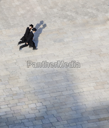 high angle view of two men