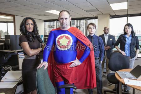 caucasian middle aged man super hero