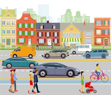 city with car traffic and pedestrians
