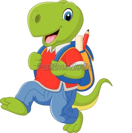 lustiger dinosaurier der karikatur mit rucksack