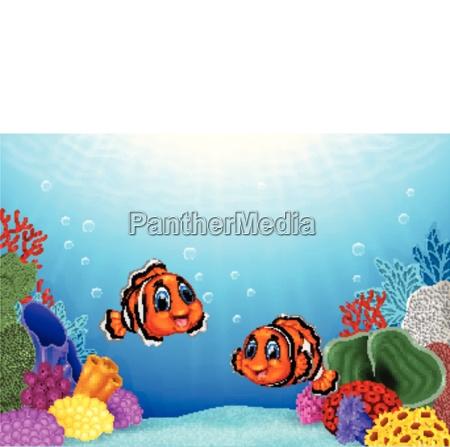 cartoon clown fish mit schoener unterwasserwelt