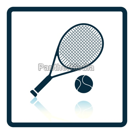 icon of tennis rocket and ball
