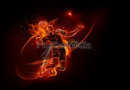 computererzeugtes bild des maennlichen badmintonspielers