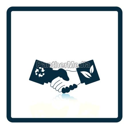 OEkologische handshakes ikone
