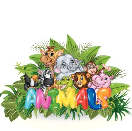 illustration of word animal with cartoon
